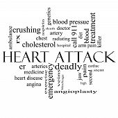 foto of stent  - Heart Attack Word Cloud Concept in black and white with great terms such as heart disease rx artery doctor and more - JPG