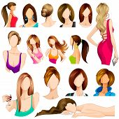image of makeover  - vector illustration of collection of female hair style - JPG