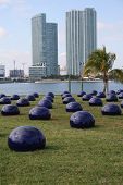 Ai Weiwei'S One Hundred Blue Shimmering Ceramic Bubbles, Art Basel Sculpture Miami 2008.