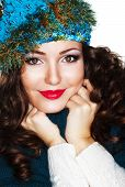 Happy Woman In Blue Knitted Cap And Knitwear - Warm Jersey