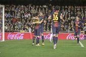VALENCIA - FEBRUARY 3: Leo Messi and Cesc Fabregas celebrating a goal during Spanish League match be