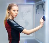 picture of futuristic woman with access card