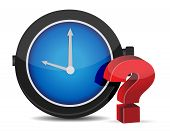 Red Question Mark With Alarm Clock