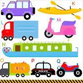 A set of cute vector A-Z alphabets : Car / Vehicles / Transportation