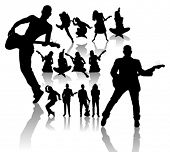 Vector silhouettes handmade, dancing and singing