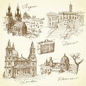 Reisen über die Europa - hand gezeichnete Sammlung