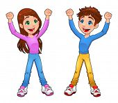 Enthusiast boy and girl. Cartoon and vector isolated character