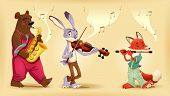 Musician animals. Cartoon and vector illustration.