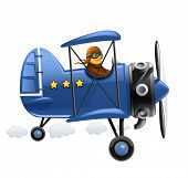 blue airplane with pilot. Rasterized illustration. Vector version also available in my gallery.