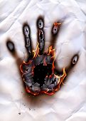 Burned handprint