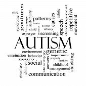 stock photo of aspergers  - Autism Word Cloud Concept in black and white with great terms such as asperger screening neuro social and more - JPG
