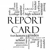 Report Card Word Cloud Concept In Black And White