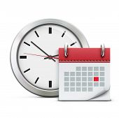 stock photo of countdown  - Vector illustration of timing concept with classic office clock and detailed calendar icon - JPG
