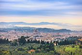 Florence Aerial Foggy Morning Cityscape. Panorama View From Fiesole Hill, Italy