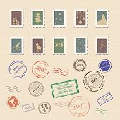 Vector collection of vintage post stamps for Christmas