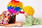 big and little funny clowns