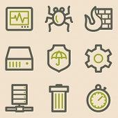 Internet security web icons, vintage series