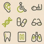 Medicine web icons set 2, vintage series