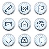 E-mail web icons, stripped light blue circle buttons