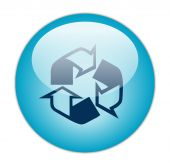Glassy Blue Recycle Outline And Fill Icon