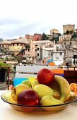 Mix Of Fruits On The Terrace In Genova, Italy