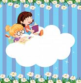 Illustration of an empty cloud template with two girls reading