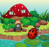 Illustration of a bug dancing near the mushroom house