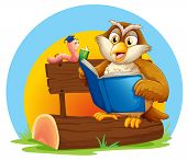 Illustration of an owl and a worm reading a book on a white background