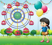 Illustration of a girl holding balloons at the carnival