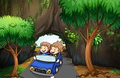 Illustration of a girl and a boy riding in a car passing the cave