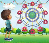 Illustration of a boy watching the ferris wheels