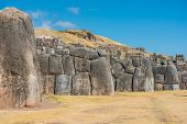 Sacsayhuaman, Incas ruins in the peruvian Andes at Cuzco Peru South America