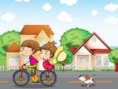 Illustration of a boy and a girl biking followed by a dog