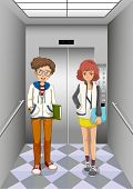 Illustration of the two women inside the elevator