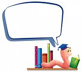 Illustration of a worm reading a book with an empty callout on a white background