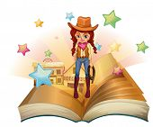 Illustration of a book with a pretty cowgirl on a white background