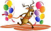 Illustration of a deer running with balloons on a white background
