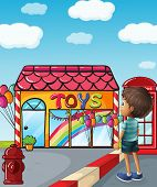 Illustration of a boy standing near the toy store