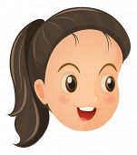 Illustration of a face of a cute little girl on a white backround