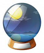 Illustration of a crystal ball with a fullmoon inside on a white background