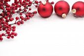 stock photo of berries  - Christmas balls and berries on white background - JPG