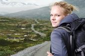 Young Blond Woman Hiking