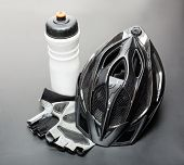 Helmet, gloves and water bottle - bicycle accessories