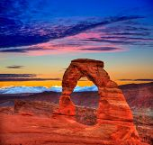 stock photo of arch  - Arches National Park Delicate Arch sunset in Moab Utah USA photo mount - JPG