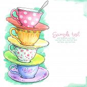 foto of recipe card  - card with painted watercolor tea cups - JPG