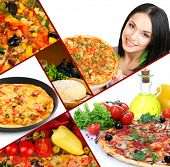 Collage of delicious pizza with ingredients