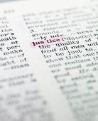 the word 'justice' highlighted in a dictionary