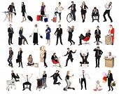 Collage of active people isolated on white background
