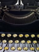 Close up of a vintage typewriter isolated on white background