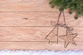 Christmas Decorations On A Background Of Old Oak Boards.